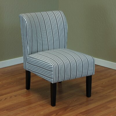 Diana Stripe Upholstered Side Chair Color: Black