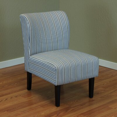 Diana Stripe Upholstered Side Chair Color: Blue