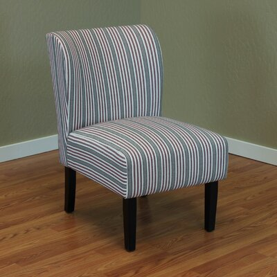 Diana Stripe Upholstered Side Chair Color: Red
