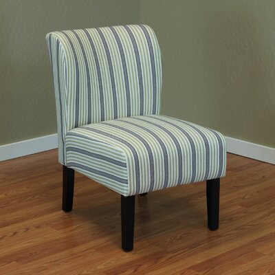 Diana Stripe Upholstered Side Chair Color: Green