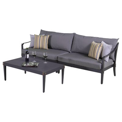Portsmouth 3 Piece Setting Group with Cushions Fabric: Charcoal Gray