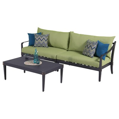 Portsmouth 3 Piece Setting Group with Cushions Fabric: Gingko Green