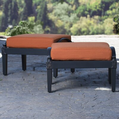 Portsmouth Club Ottoman with Cushion Fabric: Tikka Orange