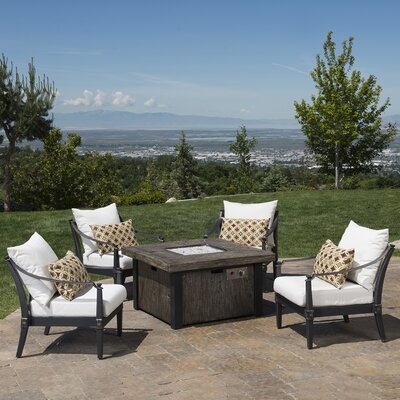 Portsmouth 5 Piece Fire Pit Set with Cushions Fabric: Moroccan Cream