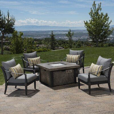 Portsmouth 5 Piece Fire Pit Set with Cushions Fabric: Charcoal Gray