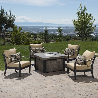 Portsmouth 5 Piece Fire Pit Set with Cushions Fabric: Delano Beige