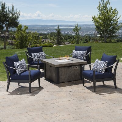 Portsmouth 5 Piece Fire Pit Set with Cushions Fabric: Navy Blue