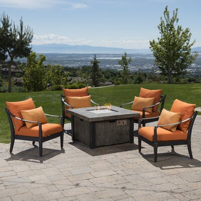 Portsmouth 5 Piece Fire Pit Set with Cushions Fabric: Tikka Orange