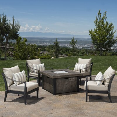 Portsmouth 5 Piece Fire Pit Set with Cushions Fabric: Slate Gray