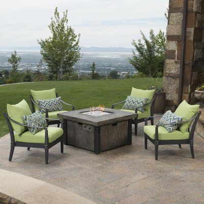 Portsmouth 5 Piece Fire Pit Set with Cushions Fabric: Ginkgo Green