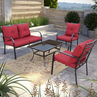 Dunrobin 4 Piece Deep Seating Group with Cushions Finish: Charcoal and Red