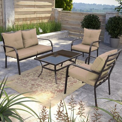 Dunrobin 4 Piece Deep Seating Group with Cushions Finish: Speckled Brown and Taupe
