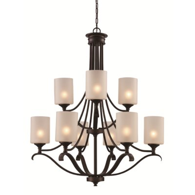 Clarion 9-Light Shaded Chandelier Finish: Brushed Nickel