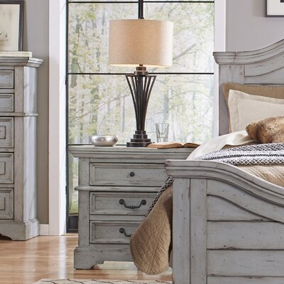 Kennison 3 Drawer Nightstand Finish: Antique Gray