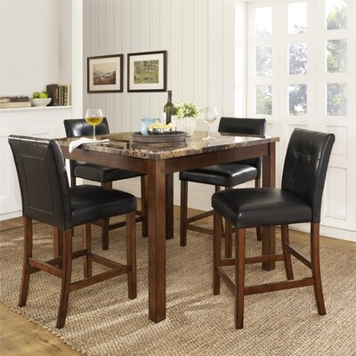 Delshire Faux Marble  5 Piece Counter Height Dining Set