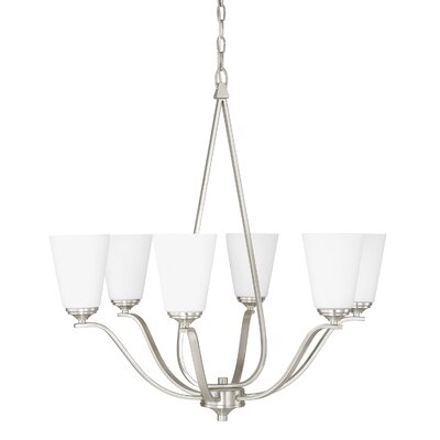 Whalers 6-Light Shaded Chandelier Finish: Brushed Nickel