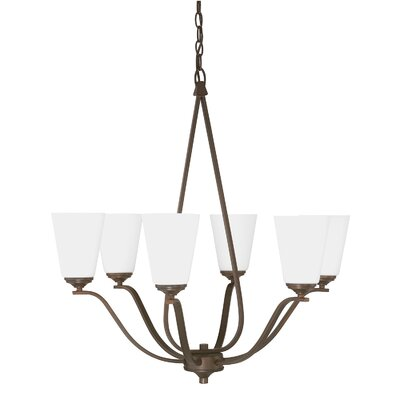 Whalers 6-Light Shaded Chandelier Finish: Burnished Bronze