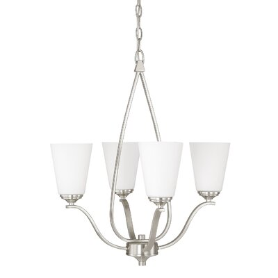 Whalers 4-Light Shaded Chandelier Finish: Brushed Nickel