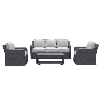 Danby 4 Piece Deep Seating Group with Cushion Color: Beige