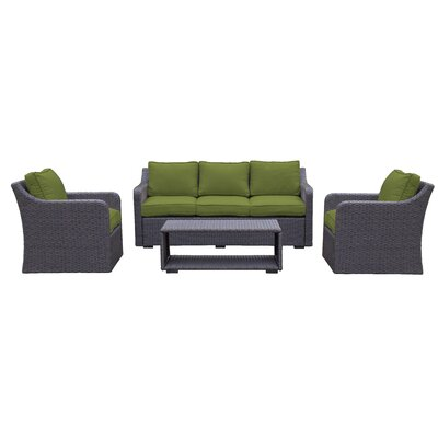 Danby 4 Piece Deep Seating Group with Cushion Color: Verde