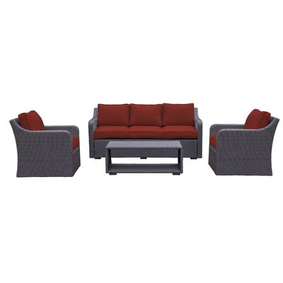 Danby 4 Piece Deep Seating Group with Cushion Color: Brick