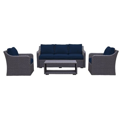 Danby 4 Piece Deep Seating Group with Cushion Color: Navy