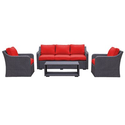 Danby 4 Piece Deep Seating Group with Cushion Color: Strawberry
