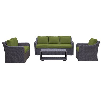 Danby Sofa & Loveseat 4 Piece Deep Seating Group with Cushion Color: Verde