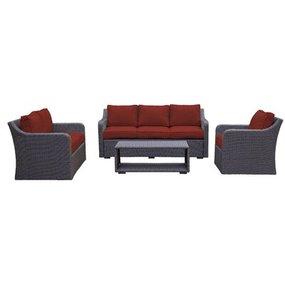 Danby Sofa & Loveseat 4 Piece Deep Seating Group with Cushion Color: Brick