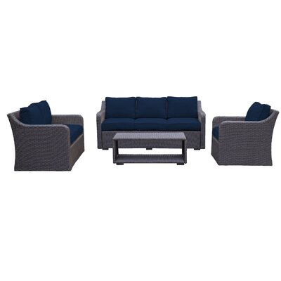 Danby Sofa & Loveseat 4 Piece Deep Seating Group with Cushion Color: Navy