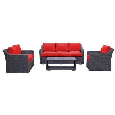 Danby Sofa & Loveseat 4 Piece Deep Seating Group with Cushion Color: Strawberry