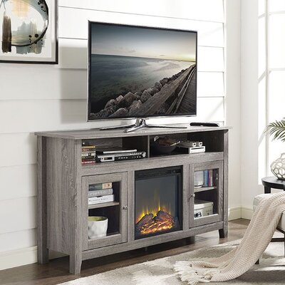 Isabel Highboy TV Stand with Electric Fireplace Finish: Driftwood