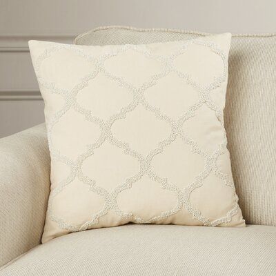 Hensen Moroccan Design Beaded 100% Cotton Throw Pillow Color: Vanilla