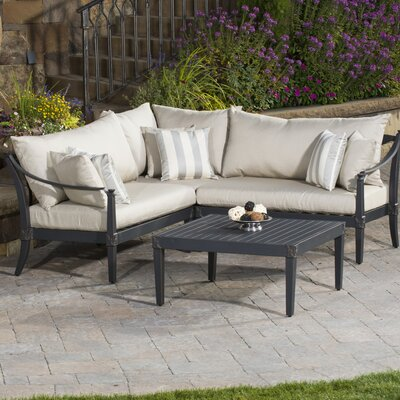 Portsmouth 4 Piece Corner Sectional and Conversation Table Seating Group with Cushions Fabric: Slate Grey