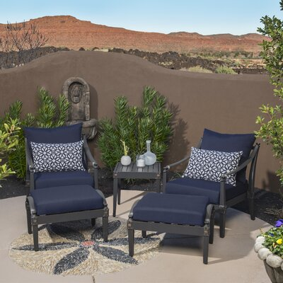 Portsmouth 5 Piece Deep Seating Group with Cushions Fabric: Navy