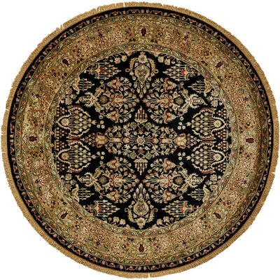 Carnbore Tufted Wool Black Area Rug Rug Size: Round 8