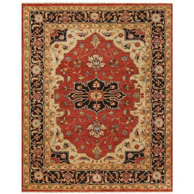 Castine Knotted Wool Red Area Rug Rug Size: Rectangle 79 x 99