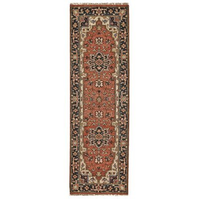 Castine Knotted Wool Red Area Rug Rug Size: Runner 26 x 8