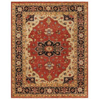 Castine Red/Black Area Rug Rug Size: 56 x 86