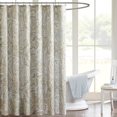 Hixson Cotton Shower Curtain Color: Soft Blue