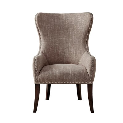 Garrison Button Tufted Wingback Chair Upholstery: Grey/Beige