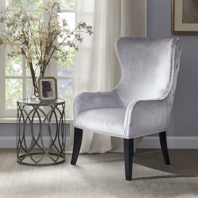 Garrison Button Tufted Wingback Chair Upholstery: Dark Grey