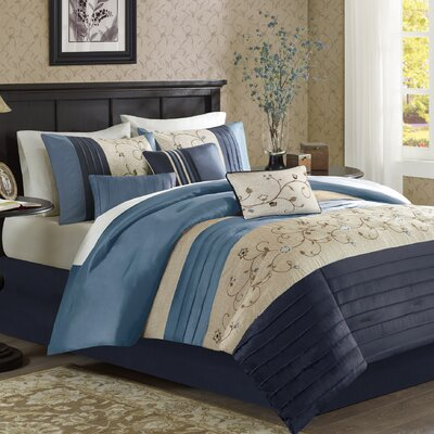 Brierwood 7 Piece Comforter Set Size: King, Color: Navy