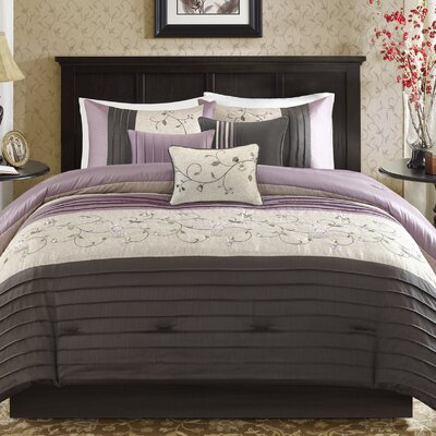 Brierwood 7 Piece Comforter Set Size: King, Color: Purple