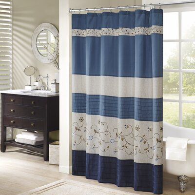 Brierwood Embroidered Shower Curtain Color: Navy