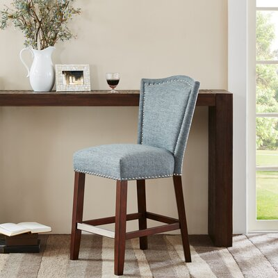 Newville 24.5 Bar Stool Upholstery: Blue