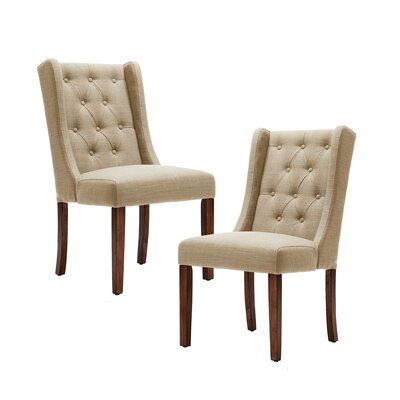 Maxwell Upholstered Dining Chair Upholstery Color: Cream, Leg Color: Espresso