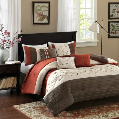 Brierwood 7 Piece Comforter Set Size: King, Color: Spice
