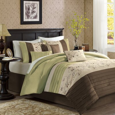 Brierwood 7 Piece Comforter Set Size: King, Color: Green