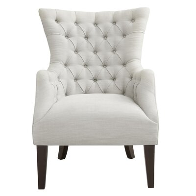 Steelton Button Tufted Wingback Chair Upholstery: Ivory